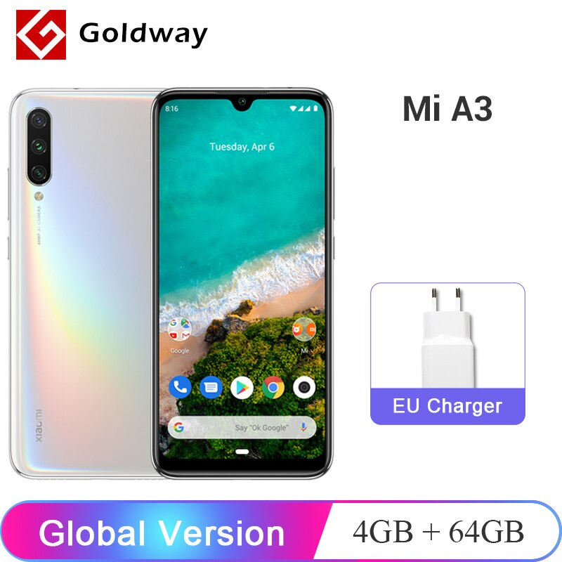Legend Coupon xiaomi-mi-a3-mia3-global-version-4gb-ram-64gb-rom-mobile-phone-snapdragon-665-octa-core-6-088-amoled-screen-48m32mp-camera Smart phone
